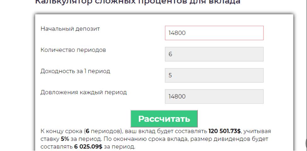 Онлайн калькулятор для расчетов сложного процента