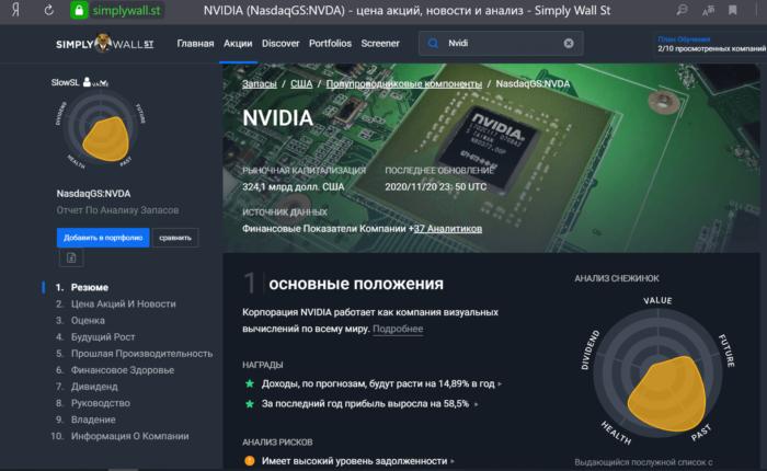 Сайт Simplywall.st